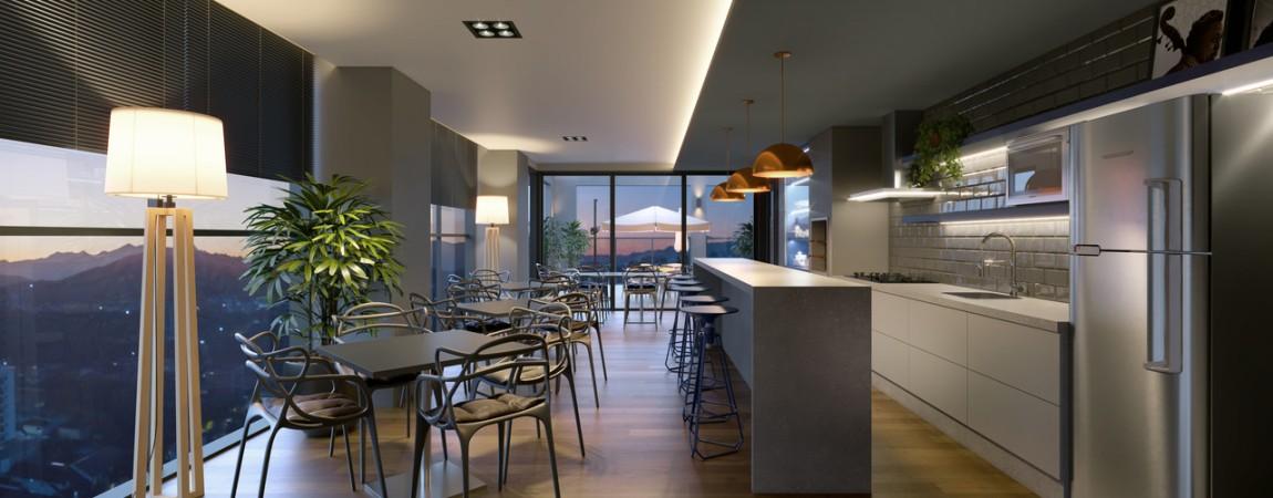 Salão de festas e espaço gourmet no rooftop